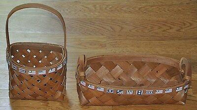 Set of 2 Fourth of July Wooden Woven Decorative American Flag Hanging Baskets