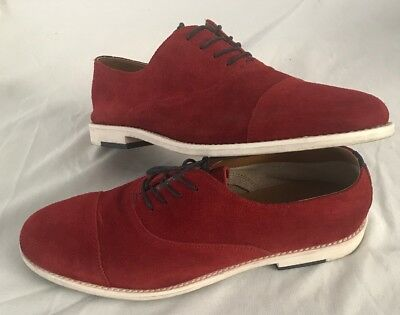 ALDO Mens Red Suede Lace Up Casual  Dress Shoes Caliva Size 9