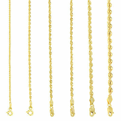 10K Yellow Gold Light 1.5mm-4mm Diamond Cut Rope Chain Pendant Necklace 14- 30