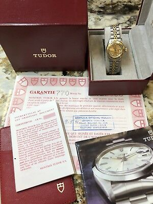 TUDOR ROLEX LADY-SUB REF- 96093 LADIES GOLD PLATED - STEEL WATCH W BOX - PAPERS