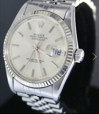 Genuine Mens Rolex Datejust Oyster Perpetual Stainless Steel Wristwatch 16014
