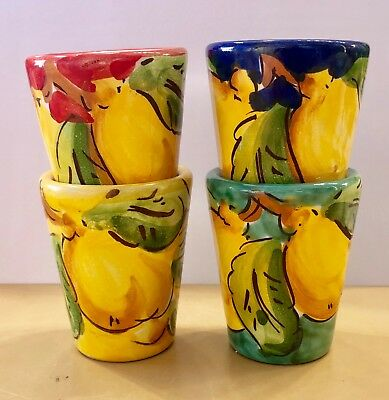 Vietri pottery-Limoncelloshot glasses-Madepainted by hand-Italy