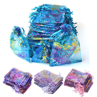 50100200 Sheer Coralline Organza Favor Gift Bags Jewelry Pouches Wedding Party