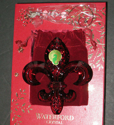 WATERFORD  2014 Annual crystal RED FLEUR DE LYS Ornament  - NEW  BOX