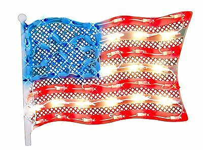 Impact 14-5 Lighted Fourth of July American Flag Window Silhouette Decor