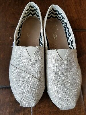 TOMS metallic gold and silver special Womens Size 8 Shoes Slip Ons Excellent