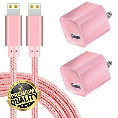 Boost 5W USB Power Adapter Wall Charger 1A Cube w 6FT Pink Braided Cable 2 Pack