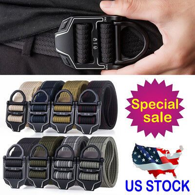 Tactical Belt Mens Military Belts Army Thicken Canvas Adjustable Waistband