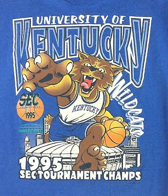Vintage Kentucky Wildcats 1995 SEC Tournament Champs T-Shirt L Made In USA