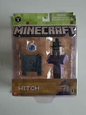 Minecraft Series 3 WITCH 3in Action Figure With Cauldron and Potion New Sealed