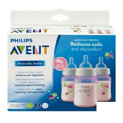 Philips Avent Anti Colic Bottle BPA Free 3 Wide Neck Bottles 9 Oz Colors Vary
