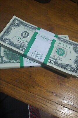 ✯LUCKY✯ - 2 TWO DOLLAR BILLS 2 Crisp Uncirculated FREE WHEAT PENNY