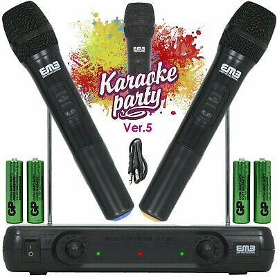 Wireless Microphone Dual Handheld 2 x Mic Cordless Receiver for Church  Karaoke