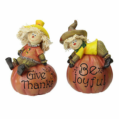Northlight Set of 2 Scarecrow on a Pumpkin Thanksgiving Table Figures