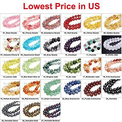 Wholesale Lot Natural Gemstone Round Spacer Loose Beads 4mm 6mm 8mm 10mm 12mm L3