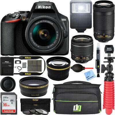 Nikon D3500 DSLR Camera w AF-P DX 18-55mm - 70-300mm Lens 16GB Accessory Bundle