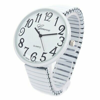 White Super Size Face Easy to Read Stretch Band Womens Watch