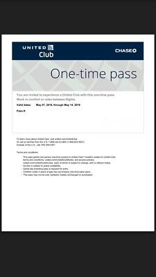 UNITED CLUB PASS Two 2 Passes E-Delivery Valid For Your Date Of Travel
