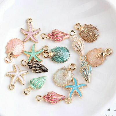 13 PcsSet Mixed Starfish Conch Shell Metal Charms Pendant DIY Jewelry Making