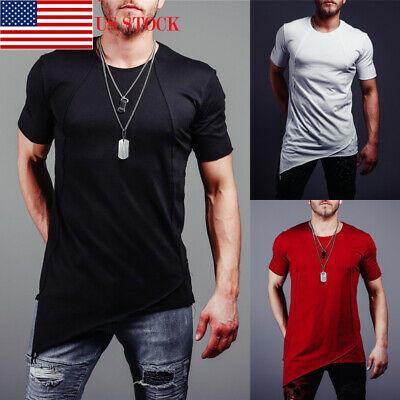 US Mens Slim Fit O Neck Short Sleeve Muscle Tee Shirts Casual T-shirt Tops New