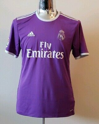 Real Madrid Adidas Climacool Soccer Futbol Jersey Purple Mens Large Fly Emirates