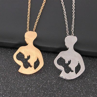 Mothers Day Gift MOM BABY Stainless Steel Necklace Pendant Women Family Party