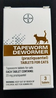 NEW Bayer Expert Care Tapeworm Dewormer for Cats - Kittens 3 Tablets FAST