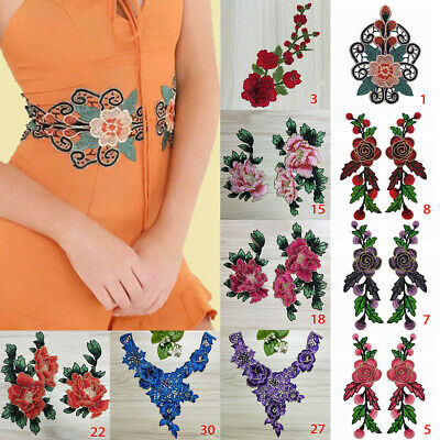Embroidery Rose Flower Floral Lace Sewing Applique Collar Neckline Applique DIY