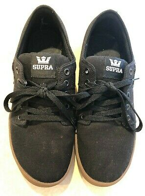 Supra Mens Black Canvas Lace Up Sneakers Shoes