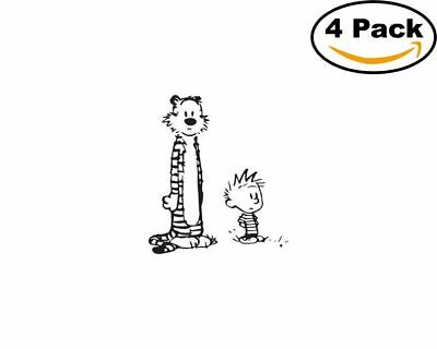 calvin and hobbes 4 Stickers 4x4 Inches Sticker Decal