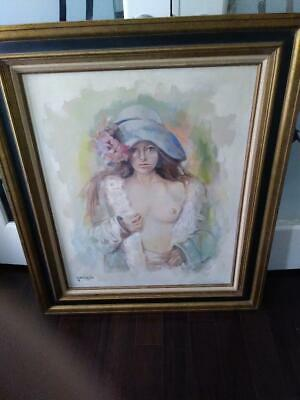 Vintage  Signed Oil on Canvas Painting of a Partial Nude Young Lady 32 by 38