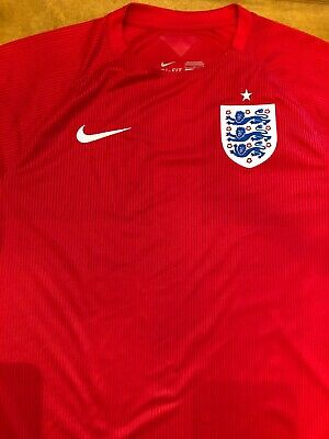 ENGLAND Nike Dri-Fit 2014 World Cup SOCCER game Red Away JERSEY Mens Large NWOT