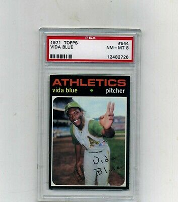 1971 Topps PSA 8 544 Vida Blue-2nd Year-Sharp and Nicely Centered