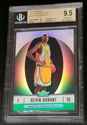2006-07 FINEST KEVIN DURANT GREEN REFRACTOR RC 199  BGS 9-5 GEM MINT