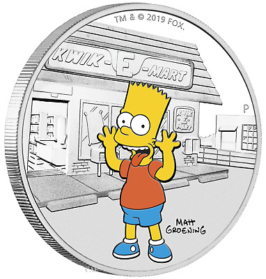 2019 The Simpsons - Bart Simpson 1oz 1 Silver 99-99 Dollar Proof Coin