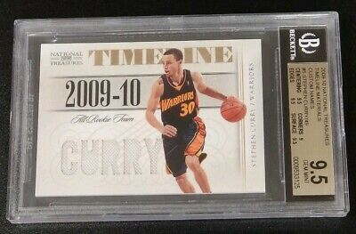 2009-10 NATIONAL TREASURES STEPHEN CURRY TIMELINE JERSEY RC 49 BGS 9-5 GEM MINT