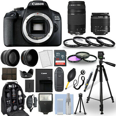 Canon EOS 2000D  Rebel T7 DSLR Camera - 18-55mm - 75-300mm - 30 Piece Bundle