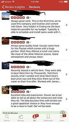 5 Star Yelp and fb Review