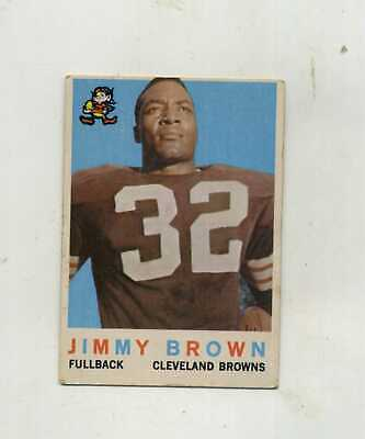 1959 Topps Football 10 Jim Brown 2nd Year VG Crease Free Card