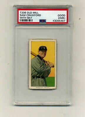 T206 1909-11 PSA 2- MK Sam Crawford With Bat Old Mill Back