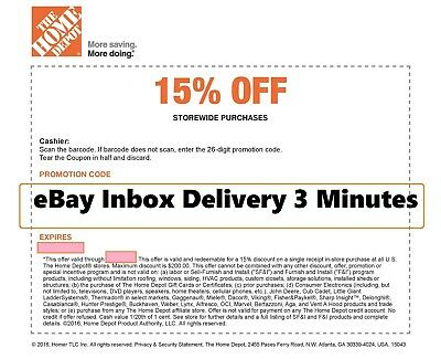 ONE 1x Home Depot 15 OFF Coupon -Instore ONLY Save MAX 200 -Very-FAST-3mins-