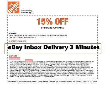 ONE1X-Home Depot 15 OFF Coupon Save up to 200-Instore ONLY-SENT-FAST-