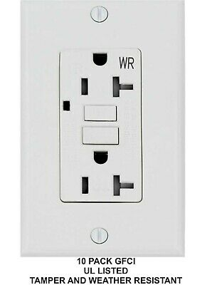 15 AMP GFCI GFI Receptacle Outlet -TAMPER RESISTANT WR WHITE UL GFCI  10PACK