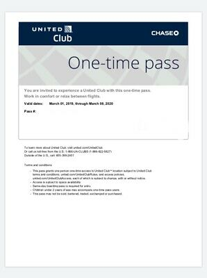 UNITED CLUB PASS- 1 Pass Expires September 26 2019 E-mail Delivery