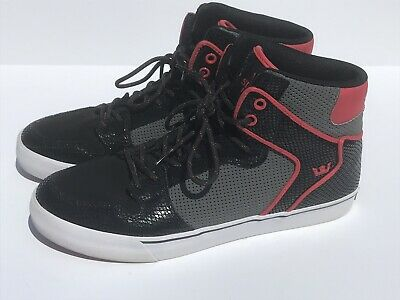 Supra Vaider in Black Grey Red - White Sole S28184 Size 11 - Skate Athletic Shoe