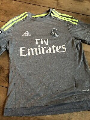 Real Madrid Fly Emirates Soccer Jersey ADIDAS YOUTH LARGE 13-14Y