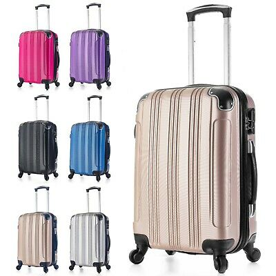 Carry on Luggage 22x14x9 Travel Lightweight Rolling Spinner Hard Shell Black New