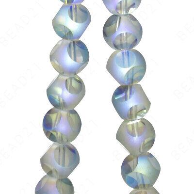 Czech Glass Round Cut Faceted Beads Matte Clear Frosted 8mm 16 Strand
