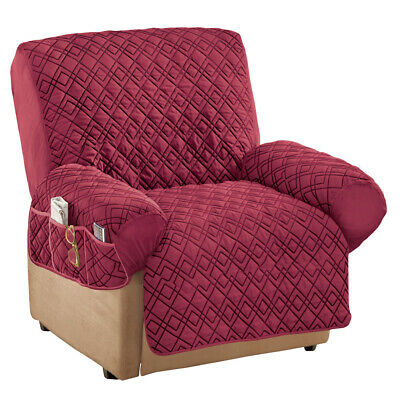 Diamond Quilted Stretch Recliner Cover with Storage
