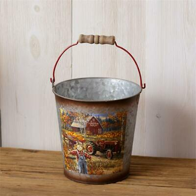New Rustic Country Primitive FALL SCARECROW PUMPKIN TRACTOR BUCKET Basket Pail